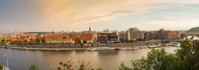 Scenic view on vltava river and historical center of prague buildings and landmarks of old town