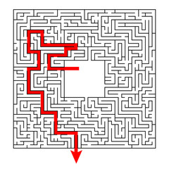 Complex maze puzzle game with empty panel # 3 (high level of difficulty)  with way (exit or answer). Labyrinth with free space for your character or text