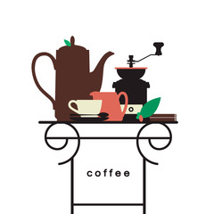 Coffee pot with a cup, a coffee grinder, a pitcher, a sprig of coffee on the table. Cafe, cafeteria, pastry shop. Design element for the menu, flyer, advertising. Vector illustration.