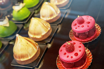 Close-up of colorful French pastries