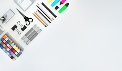 Modern workspace with stationery set on white color background. Top view. Flat lay. 3D illustration