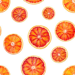 Seamless pattern with red blood orange oranges