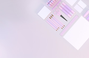 Modern work space with stationery set on pink color background. Top view. Flat lay. 3D illustration