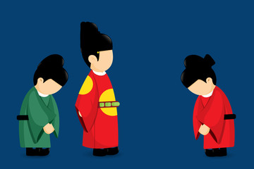 Tradition culture of Korea vector cartoon design.