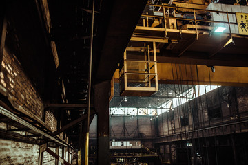 interior of an old abandoned steel factory in western Europe