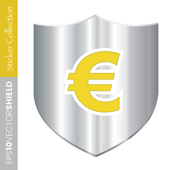 Metal Shield Icon - Euro Dollar