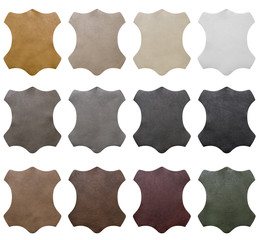 Collection, samples of artificial leather for decoration and design on white background. Each one is shot separately, including Clipping Path