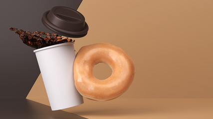 Hot Coffee and Glazed Donut