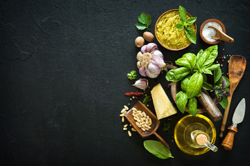 Ingredients for homemade green basil pesto