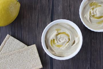 Hummus. A dish of oriental cuisine.