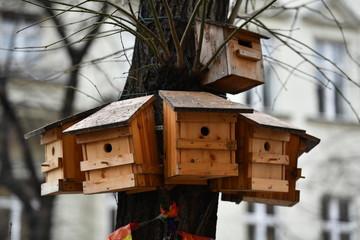 Bird houses in Berlin-Wilmersdorf.
