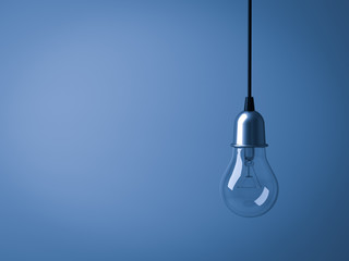 Hanging Light bulb isolated on dark blue background . 3D rendering.