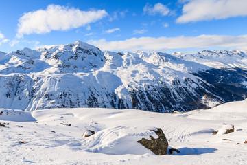 Beautiful view of mountains in winter season in Hochgurgl-Obergurgl ski area, Tirol, Austria