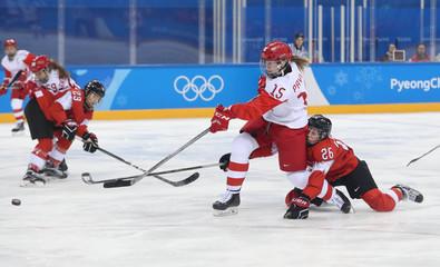 Olympics: Ice Hockey-Women Team Quarterfinal - OAR-SUI