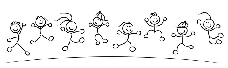 happy kids or children jumping sketch isolated