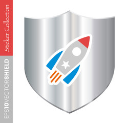 Metal Shield Icon - Rocket Ship