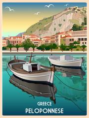 Summer morning on the promenade of town Nafplion, Greece. Handmade drawing vector illustration. Retro style.