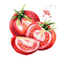 Red ripe tomatoes composition. Watercolor hand drawn illustration, isolated on white background