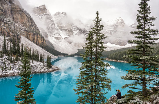 Autumn Snow at Lake Moraine in Banff National Park