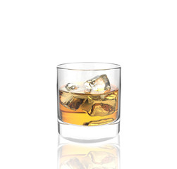 glass of whiskey with ice with white background