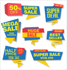 Modern sale stickers and tags blue collection