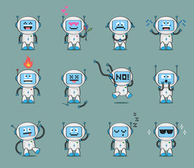 Set of cute robot character in different poses and with various emotions. Vector character collection