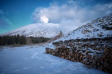 Wall Mural - Winter Etna Volcano Emit White Smoke, Sicily