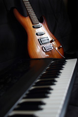 part of keyboard instrument and guitar