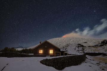Starry Night On Galvarina Refuge Under Snowy Etna Volcano, Sicily