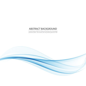 Abstract blue vector wave background.Smooth transparent vector smoke .Design element.