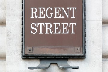 Regent street sign on a wall in London, United Kingdom