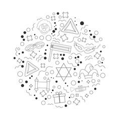 Purim holiday flat design black thin line icons set in round shape