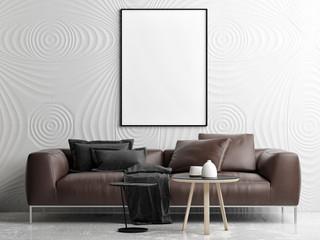 Empty poster mock up living room, your work here, 3d render 3d illustration