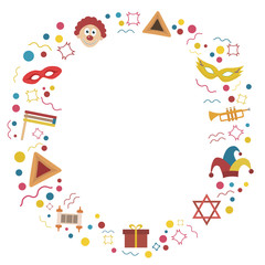 Frame with purim holiday flat design icons
