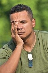 Colombian Male Soldier Under Stress