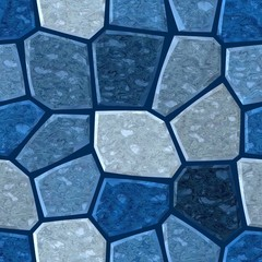 surface floor marble mosaic pattern seamless background with dark grout - medium blue color