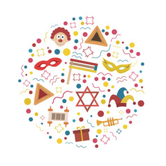 Purim holiday flat design icons set in round shape