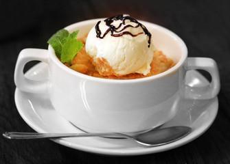 Macro photo of delicious pie with ice cream