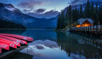 Night time Emerald Lake Lodge in Yoho National Park