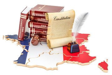 Constitution of France concept, 3D rendering
