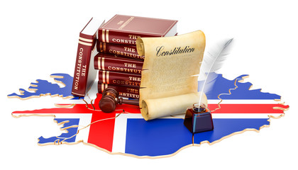Constitution of Iceland concept, 3D rendering
