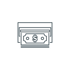 thin line money icon, cash out icon