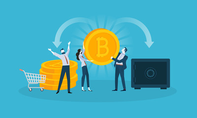 Bitcoin security. Flat design style web banner of blockchain technology, bitcoin, altcoins, cryptocurrency mining, finance, digital money market, cryptocoin wallet, crypto exchange.