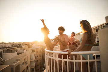 Friends celebrating on vacation