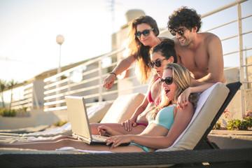 Friends surfing the Net