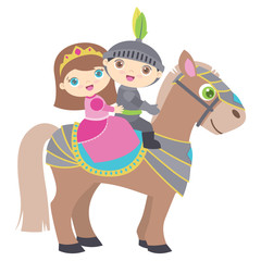 Cute Little Princess and Knight Riding a Horse Flat Vector Illustration Isolated on White