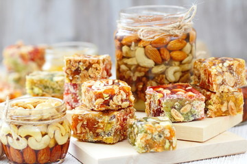 Nuts in honey and sweet marmalade with various nuts