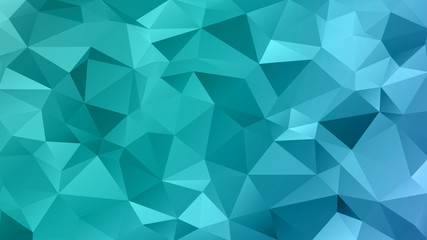 Abstract low poly background of triangles in Cold, azure, ice, winter colors. Substrate for design. 16:9