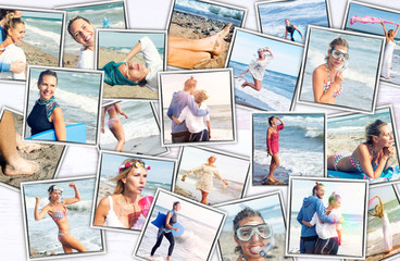 collage of colorful photos of couple at the beach