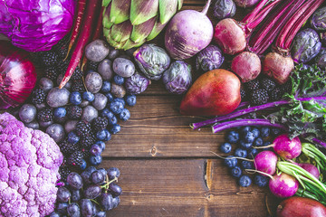 Background of purple vegetables and fruits